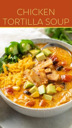 Healthy Soup Recipes, Mexican Food Recipes, Dinner Recipes, Cooking Recipes, Creamy Chicken Tortilla Soup, Homemade Soup, Lunches And Dinners, Meals, Chowder Recipes