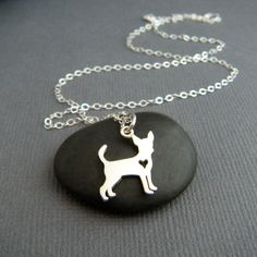 tiny silver chihuahua necklace. small sterling pet heart