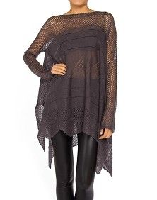 OPEN KNIT PONCHO SWEATER