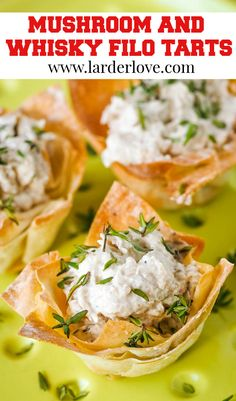These delilghtfully light and tasty filo flower tarts filled with whisky flavoured mushroom mousse are the perfect appetiser and party nibble with a wee taste of Scotland about them. #partyfood #vegetarianpartyfood #vegetarianrecipes #scottishrecipes #larderlove Vegetarian Appetizers, Vegetarian Recipes, Nibbles For Party, Tart Filling, Scottish Recipes, Larder, Appetisers, Whisky, Tarts