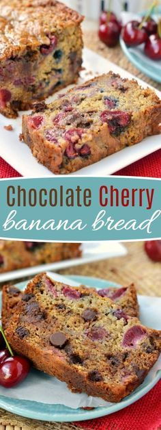 Your new favorite banana bread - Chocolate Cherry Banana Bread! The chocolate and cherry combination is the perfect complement to this tasty banana bread. Exceptionally moist and tender, you won't be able to stop at just one slice! Prepare to be amazed! // Mom On Timeout #banana #bread #chocolate #cherry #recipe #bananabread #ripebananas #momontimeout