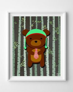Woodland Bear Brown Background posters by Inkist Prints! This unique nursery decor print will make a great addition to any nursery and kids room. It would also be a great gift for baby shower and birthday. Nursery Artwork, Kids Room Wall Art, Nursery Prints, Baby Animal Nursery, Bear Nursery, Woodland Nursery, Woodland Baby, Nursery Room, Nursery Decor