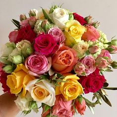 Pink and yellow bouquet.
