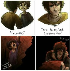 """When Percabeth is in Tartarus, Nico would be thinking """"I won't fail Percy like he did me"""" and it's so sad :'("""