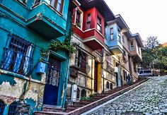 Colorful houses of Istanbul, Turkey