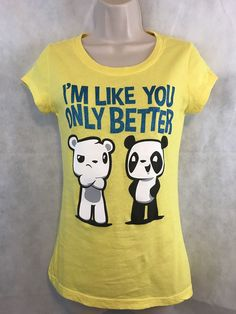 2d18e84e8 Wound Up Yellow I'M LIKE YOU ONLY BETTER Graphic Tee Shirt Size Small #