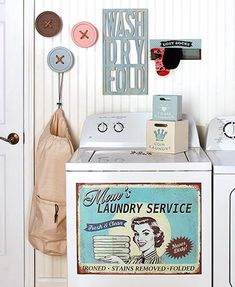 """Add a nostalgic touch with these Vintage-Inspired Laundry Room Accents. Affix the """"Mom's Laundry Service"""" Magnet (23""""W x 17""""L) to the front of the washing mac"""