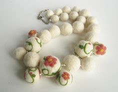 Felted bead necklace white necklace hand felted  felt, natural white with pink, flower felted