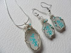 "Tall teal swirls - Hand painted sea glass necklace & earring set - Sterling silver 18"" chain from ShePaintsSeaglass art deco necklace sea glass necklace sea glass jewelry wire wrapped glass wrapped seaglass art jewelry beach pottery seaglass multi english sea glass sterling silver hand painted art"