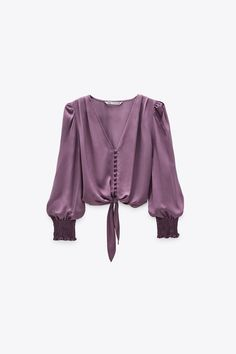 Blouse Col V, Crop Blouse, V Neck Blouse, Printed Blouse, Ruffle Blouse, Zara Tops, Crop Top Outfits, Satin Top, Ruffles