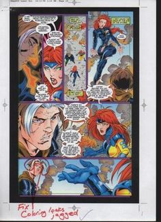 "This is an OFFICIAL MARVEL COMICS PRINTER'S PROOF PAGE used in the direct production of the 1997 X-MAN issue 25 comic book. This 1990's XMan story featured characters like Nate Grey (aka ""X-Man""), Jean Grey (aka Marvel Girl from the Uncanny X-Men), and Madelyne Pryor (another X-Men character, who was sometimes known as the ""Goblin Queen"", I believe). Marvel's Production Staff couldn't have made the final published comic book back then in the 90's without this printers proof page."