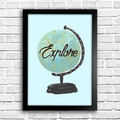 Poster Explore - Globe - Encadreé Posters Encontre a arte perfeita para sua decoração na Encadreé Posters.  Palavras-chave: parede decorada, parede de quadros, posters, quadros, decor, decoração, presentes criativos, arte, ilustração, decoração de interiores, decoração criativa, quadros decorativos, posters com moldura, globo terrestre, explore,