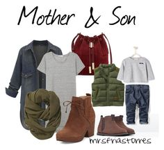 A fashion look from August 2015 featuring Eileen Fisher ankle booties, Vince Camuto shoulder bags and Athleta scarves. Browse and shop related looks. Toddler Boy Fashion, Toddler Boy Outfits, Kids Fashion, Baby Outfits, Fashion Games, Mom And Son Outfits, Family Outfits, Mommy And Son, Mom Son