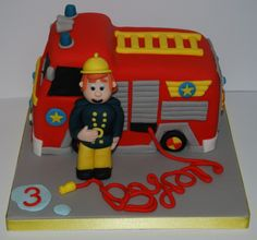 Fireman Sam cake Cool Birthday Cakes, 2nd Birthday, Birthday Ideas, Olaf Frozen Cake, Fire Engine Cake, Fireman Sam Cake, Fire Cake, Cupcake Cakes, Cupcakes