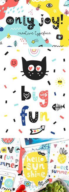 Only Joy typeface Kids Graphic Design, Graphic Design Projects, Book Design, Childrens Logo, Summer Font, Geometric Font, Kids Graphics, Cute Fonts, Vintage Fonts