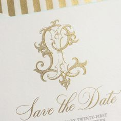 Laura and Isaac's save the date set the tone with a large gold engraved monogram, charcoal letterpress, a metallic striped envelope liner, and the sweetest shade of robin's egg blue on the beveled edges! Talk about an introduction! #MonogramMonday