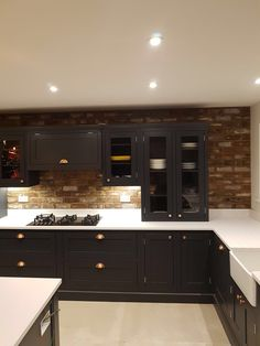 A recent domestic kitchen project using our reclaimed barnstock brick tiles. Brick slips cut from original reclaimed bricks. Sally's Kitchen, Kitchen Paint, Kitchen Tiles, Home Decor Kitchen, Kitchen Interior, Brick Slips Kitchen, Brick Floor Kitchen, Kitchen Designs Photos, Kitchen Pictures