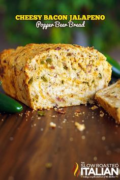 Cheesy Bacon Jalapeño Popper Beer Bread #bread #recipe