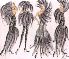 Bozzetti per gli abiti di scena di Lea Topan per lo Show- The Ugly Duckling (il Brutto Anatroccolo)- al Rosemont Theatre di Chicago