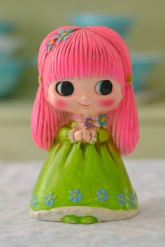 Vintage Pink Haired Girl Bank  Chalkware from Japan
