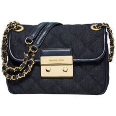 MICHAEL Michael Kors Sloan Small Denim Chain Shoulder Bag, Blue ($275) ❤ liked on Polyvore featuring bags, handbags, shoulder bags, blue shoulder bag, purse shoulder bag, crossbody purse, man bag and crossbody handbags