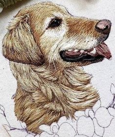 Thread Painting, Hand Embroidery, Needlework, Stitching, Quilts, Animals, Dots, Pink, Craft