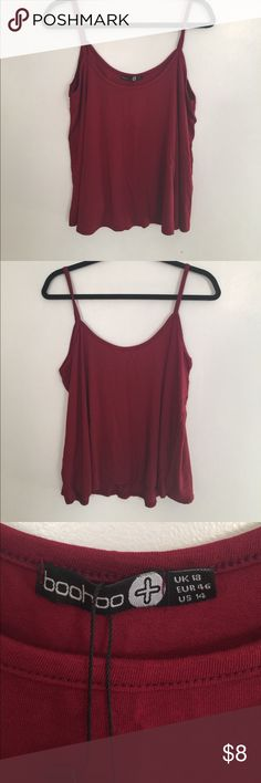 Crop tank NWT Deep red crop tank. NWT  Please feel free to ask questions or make a reasonable offer!! Boohoo Plus Tops Tank Tops