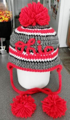 6cc5af89f57 Scarlet red and gray Ohio crochet earflap hat for by JLMcrochet