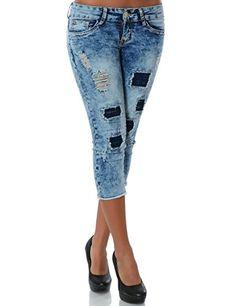 Damen Jeans Capri-Hose Bermuda-Shorts No 13989