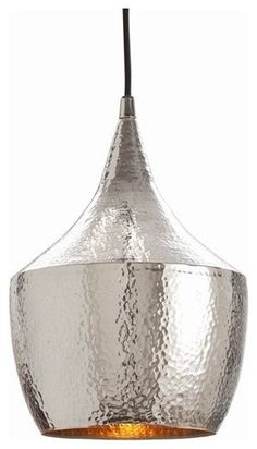 Hayden Hammered Silver Pendant by Arteriors Home contemporary pendant lighting  9d x 14h
