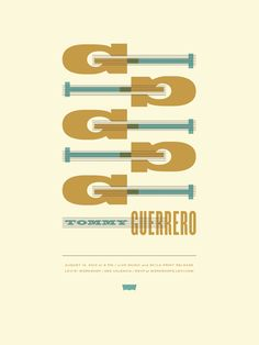 Tommy Guerrero concert poster by Jason Munn and Dirk Fowler - Jason Munn - Gallery Guitar Posters, Band Posters, Cool Posters, Music Posters, Graphic Posters, Gig Poster, Poster Prints, Jason Munn, Singer Songwriter