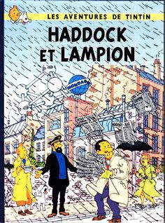 HOMMAGE A HERGE TINTIN HADDOCK ET LAMPION ALBUM CARTONNE EN COULEURS