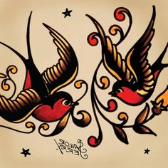 Good and evil sparrow tattoos — pic 2