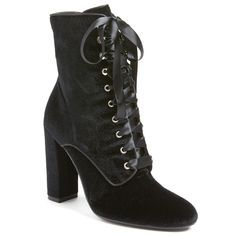 Women's Steve Madden 'Evolved' Lace-Up Bootie ($150) ❤ liked on Polyvore featuring shoes, boots, ankle booties, black velvet, tall boots, black ankle boots, black lace-up boots, black bootie and lace up boots