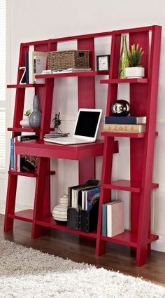 Red Ladder Bookcase with Desk // clever design that combines a desk, pull-out drawer and storage shelves in one space-saving design #furniture_design