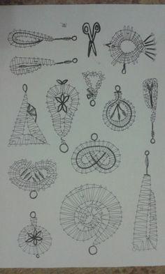 Ozdoby2 Lace Jewelry, Lace Making, Lace Patterns, Bobbin Lace, Compass Tattoo, String Art, Wool Yarn, Crochet, Crafts