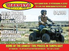 New 2016 Honda FOURTRAX RECON 2X4 ES ATVs For Sale in Florida. Sized Right For Versatility. Every craftsman knows that if you use the right tool for the job, life is a lot easier. But that's a secret plenty of people forget when they're looking at utility ATVs. Bigger isn't always better, but it is usually more expensive and that is why the Honda Recon is going to be the smartest choice lots of ATV riders will ever make.Why? You see the Recon is a powerful, versatile, rugged ATV with a…