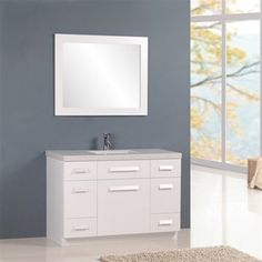 "Design Element 48"" Moscony Single Sink Vanity Set in White or Espresso - J48-DS"