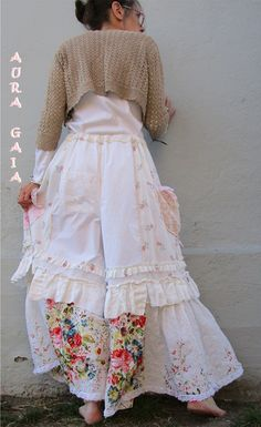 AuraGaia ~Tattered Poorgirl Upcycled Bloomer PettiPants Raw-Edged Ruffles XS-XL