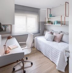 25 Small and Minimalist Bedroom Design Ideas Small Room Design Bedroom, Room Ideas Bedroom, Home Room Design, Bedroom Decor, Aesthetic Bedroom, Home Office, Room Inspiration, Cozy Room, Offices