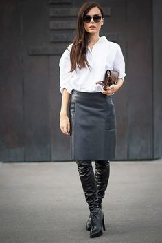 You can't go wrong with a crisp white blouse, leather pencil skirt and thigh-high boots