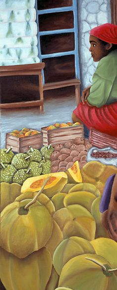 Caribbean Art Print Market Scene Tropical by JennifersArtPlace Caribbean Art, Caribbean Recipes, Composition Painting, Fruits Drawing, Haitian Art, Indian Art Paintings, Art Courses, Art Studies, Art World