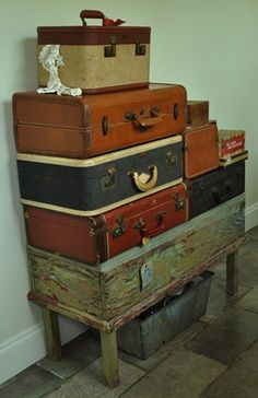 """Gotta love vintage suitcases"" - This would be a way to display my suitcases and trunks until I collect enought and figure ou the configuration for the shelves. -CAB"