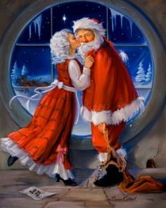 I like this image of Santa and Mrs Claus Christmas Kiss, Christmas Scenes, Father Christmas, Christmas Pictures, Christmas Holidays, Christmas Windows, Xmas, Christmas Christmas, Illustration Noel