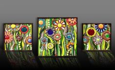 Flower Trilogy. Check out more of our mosaics on jillsmosaicmadness.com