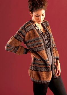 Coretto - Color work bands are alternated  in this fashion forward cardigan - (XS-2XL)