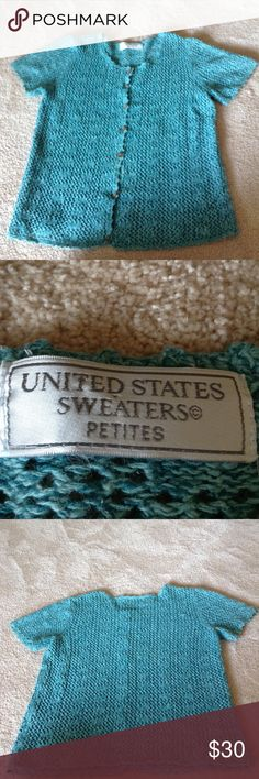 """United States Sweaters"" (blue)! No size looks about a size 2 or 4 it would fit. Measurements? Just ask! Also this sweater would be great with dresses or just amazing with jeans and a tank! United States Sweaters Sweaters"