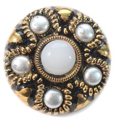 Modern Black Glass with Pearl Embellishment  Medium by KPHoppe