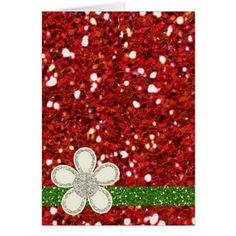Christmas Red Glitters Card