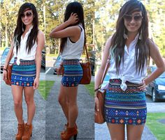 Forever 21 Tribal Body Con Skirt, American Eagle Diy  Button Up Shirt, Juicy Couture Heart Sunglasses